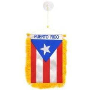 Rear View Mirror Puerto Rico Flag
