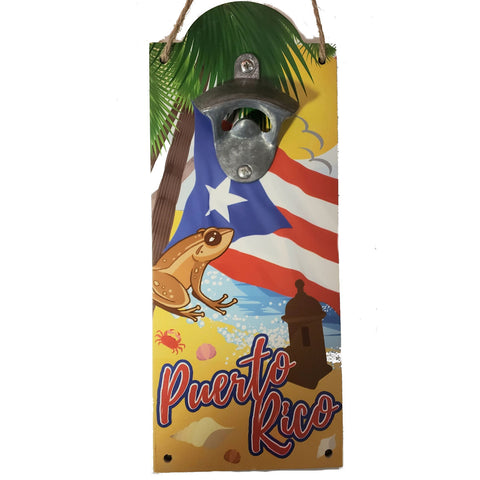 Bottle Opener with the Puerto Rico Flag and Coqui