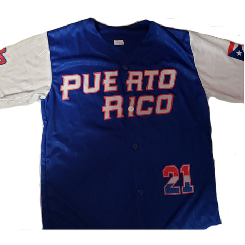 Puerto Rico Baseball Shirt, Blue