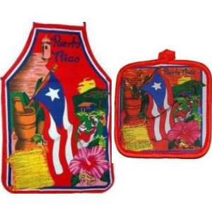Apron and Cooking Mitt Combo, Puerto Rico Mofongo Recipe