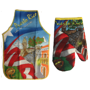 Apron and Hand Cooking Mitt Combo, Puerto Rico Coqui