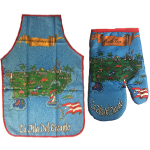 Apron and Hand Cooking Mitt Combo, Puerto Rico Map - www.ElColmado.com