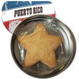 Star Shaped Sugar Cookies, Butter and Coconut, Puerto Rico Flag