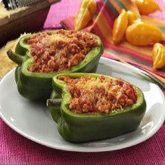 Ground Chicken Stuffed Peppers, Pimientos Rellenos Recipe
