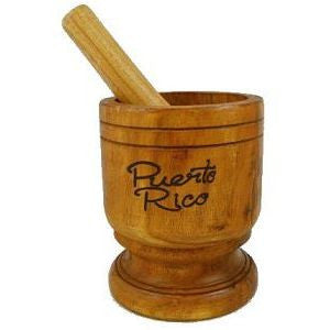 "Wooden Mortar, Pilon 6 1/2"" tall, extra wide"