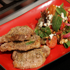Pork Chops with Balsamic Vinaigrette Salad Recipe