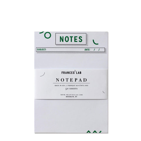 White and Green Gamut Notepad by Frances Lab