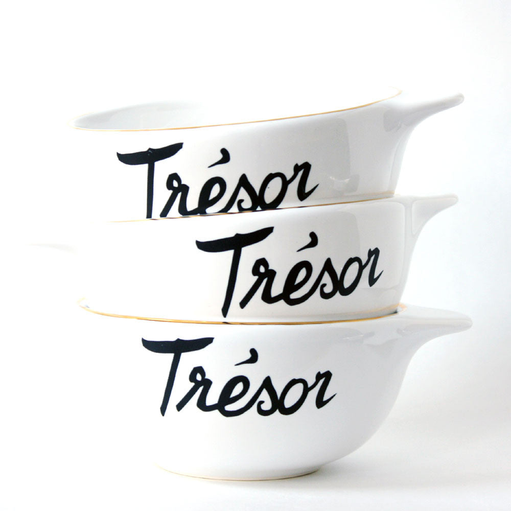 modern french porcelain cereal bowls with gold rim