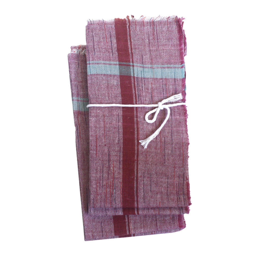 set of 6 hand woven cotton khadi napkins, wine