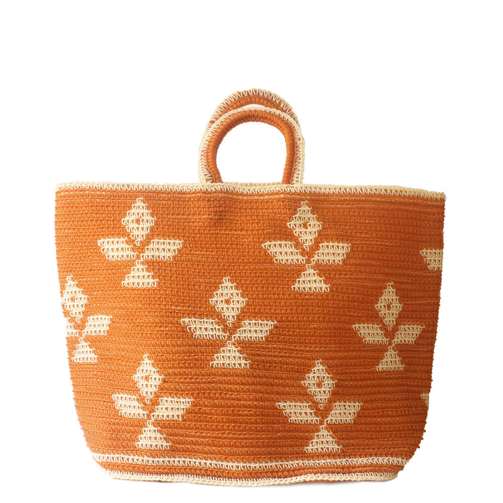 orange and white diamond nylon crochet market bag