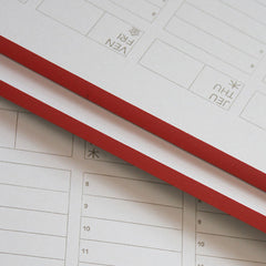 letterpress yearly desk agenda with red gum binding