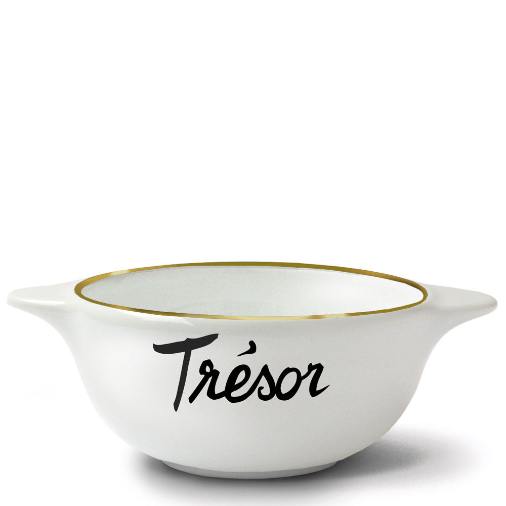 modern french breton bowl with gold rim, tresor