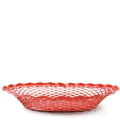 red stainless steel french bread basket