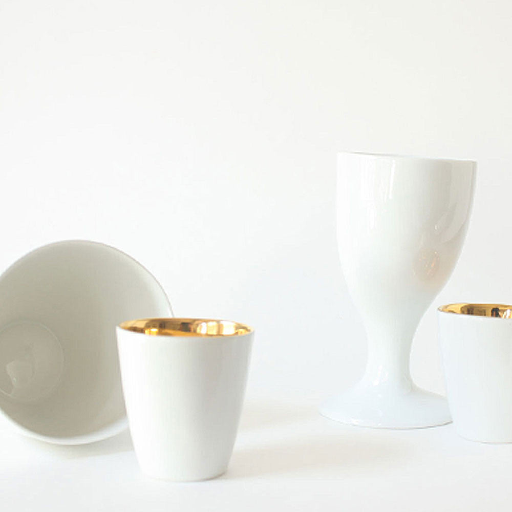 french designed white porcelain drinking cups and glasses