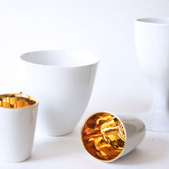 side view modern french espresso cups white with gold interior