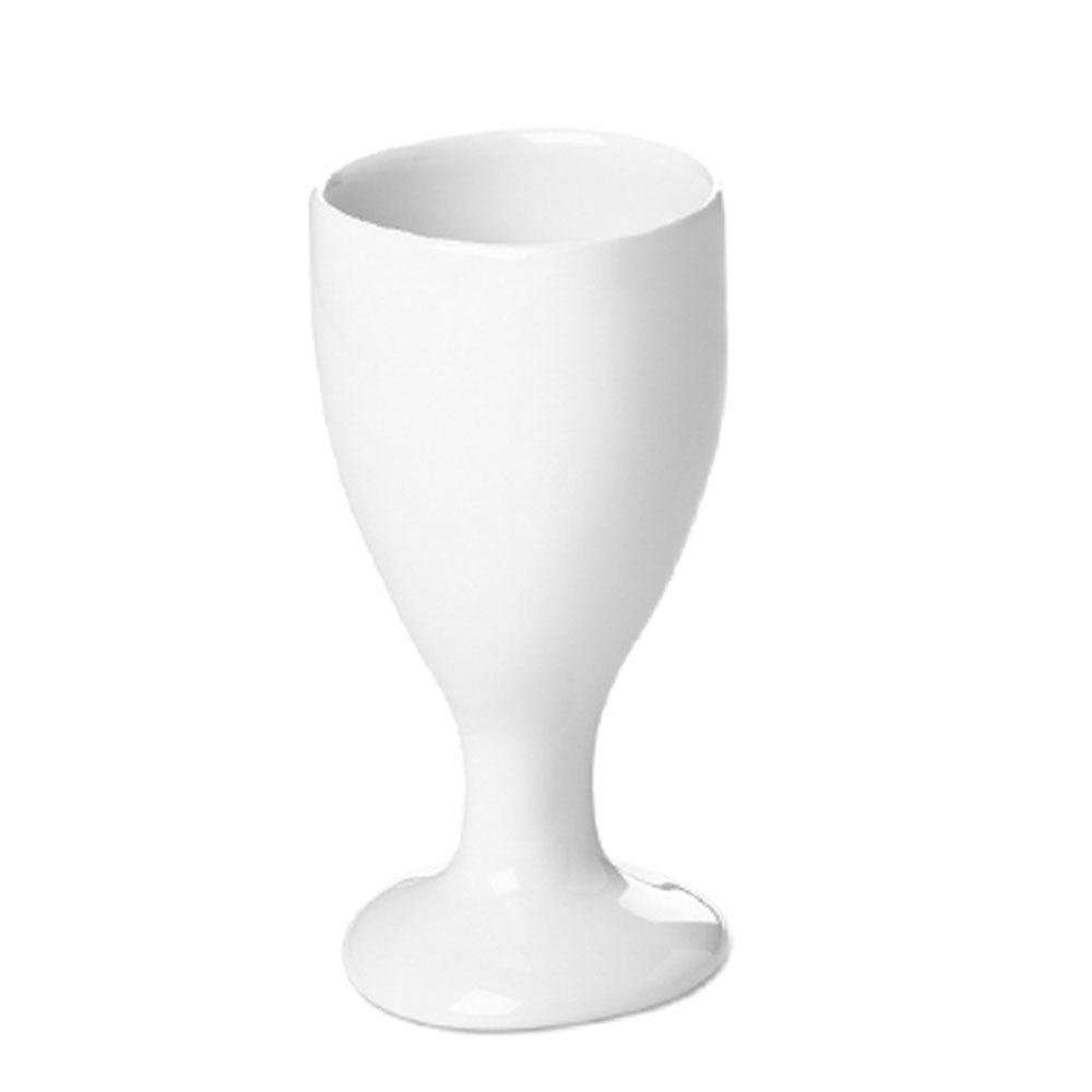 french white stemmed drinking glass, porcelain