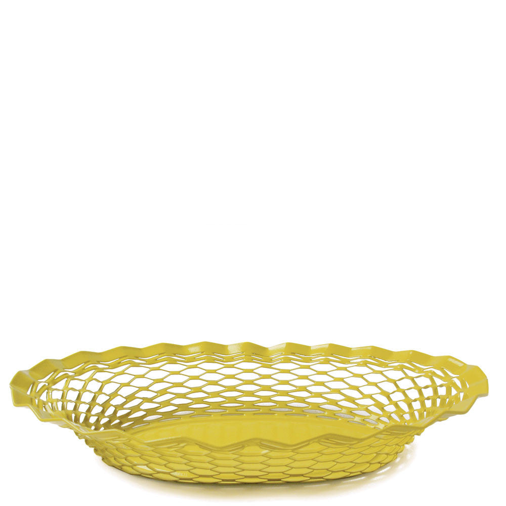 yellow french stainless steel bread basket
