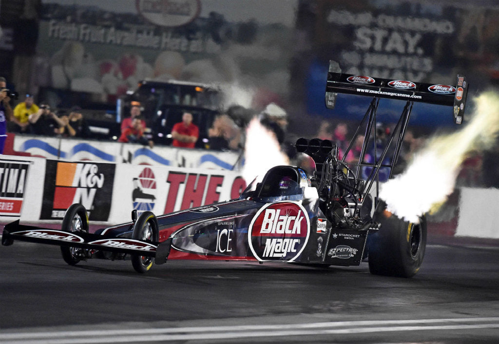 PRITCHETT, 'BLACK MAGIC' TOP FUEL DRAGSTER POSTS 14TH SPOT IN 1ST DAY OF QUALIFYING IN LAS VEGAS | Leah Pritchett