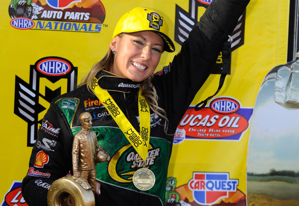 1 of 13 Print all In new window Leah Pritchett Route 66 NHRA Nationals Event Preview | Leah Pritchett