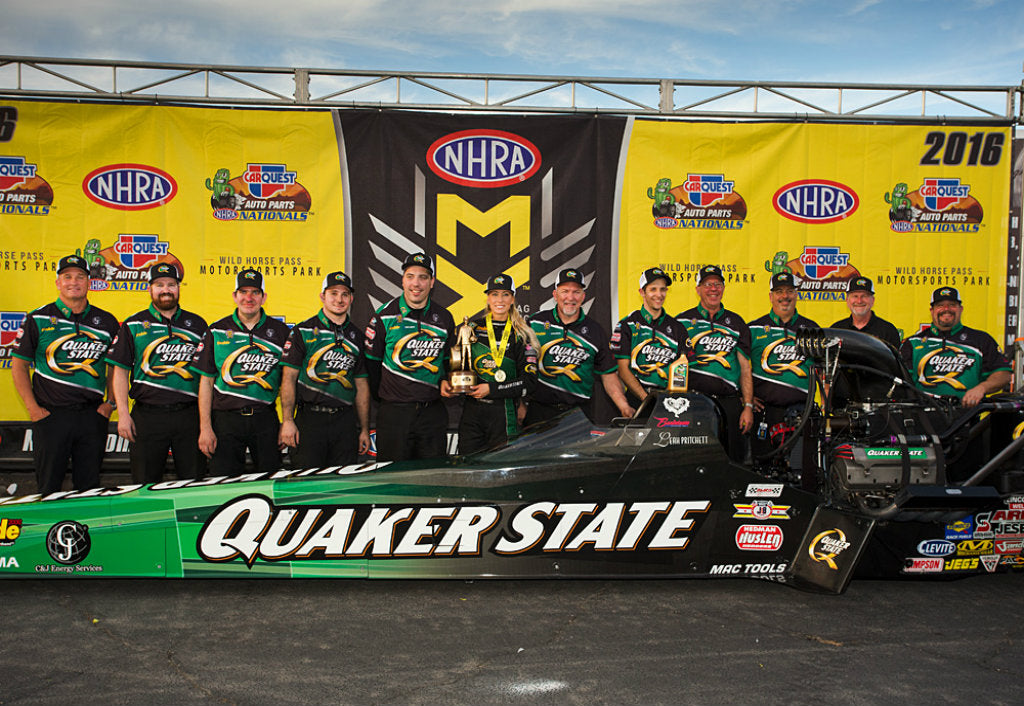 LEAH PRITCHETT RUNNING QUAKER STATE® DRAGSTER IN HOUSTON REUNITING WINNING TEAM