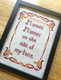 Flames. Flames On The Side of My Face -PDF Cross Stitch Pattern
