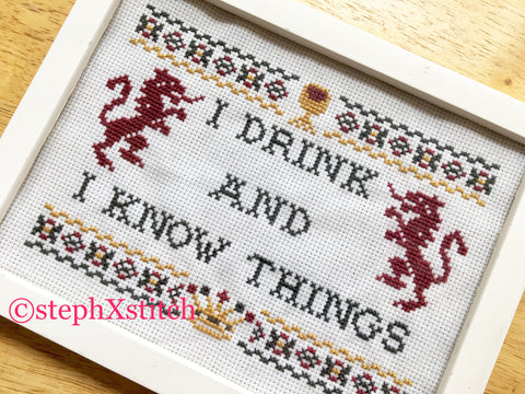 I Drink And I Know Things - Framed Cross Stitch