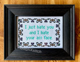 I Just Hate You And I Hate Your Ass Face - Cross Stitch Kit