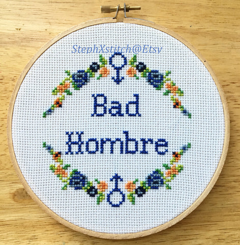 Bad Hombre - PDF Cross Stitch PATTERN