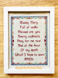 Bloody Mary Full of Vodka Hangover Prayer - PDF Cross Stitch Pattern