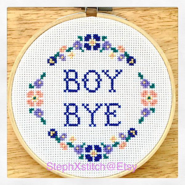 Boy Bye - PDF Cross Stitch Pattern