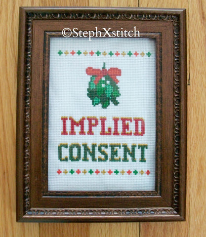 Implied Consent Mistletoe - PDF Cross Stitch Pattern