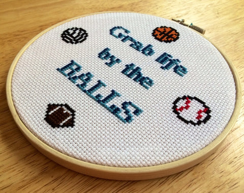 Grab Life By The Balls - PDF Cross Stitch Pattern