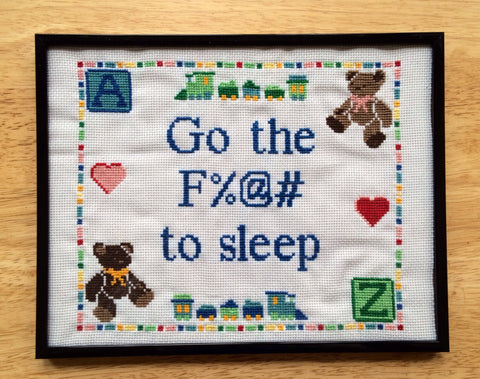 Go the Fuck to Sleep - Framed Cross Stitch