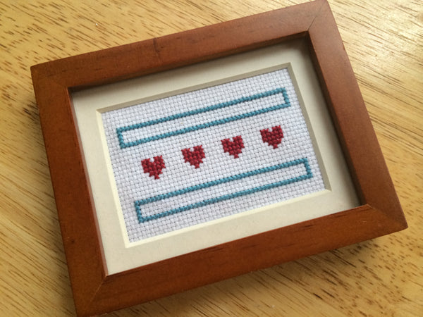 Chicago Flag Hearts PDF Cross Stitch Pattern