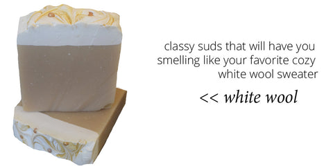 white wool soap