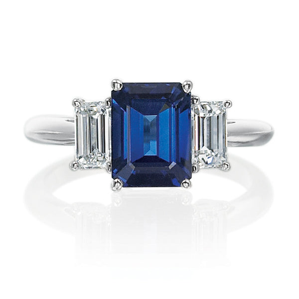 Emerald Cut Sapphire and Diamond 3-stone Engagement