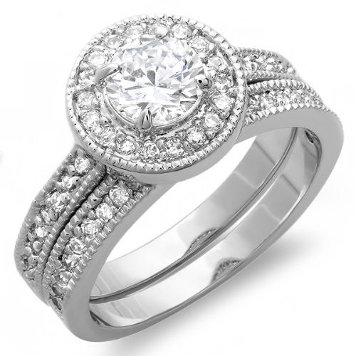 1 3/8 Carats Round Halo Engagement with Matching Band