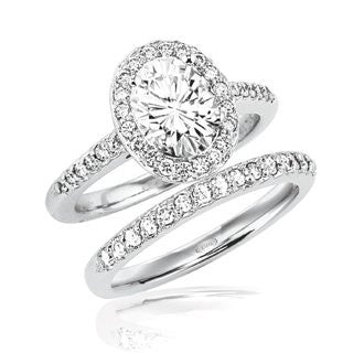 2 3/8 Carats Oval Halo Engagement w/Matching Band