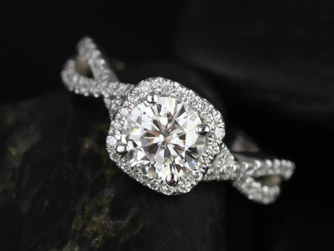 1 1/2  Carats Round Halo Engagement with Infinity Shank