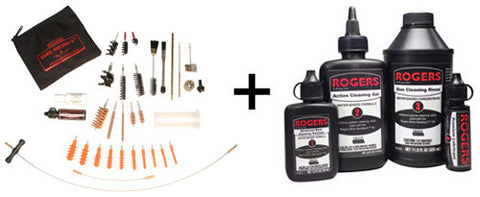 Rogers Bore Squeeg-E™ Ultimate Gun Cleaning Kit & Rogers Advanced Gun Cleaning Solution Combo Pack, Rogers - HolsterOps