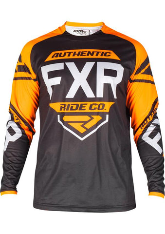 FXR YOUTH CLUTCH RETRO MX JERSEY BLK/ORG/LT GRY