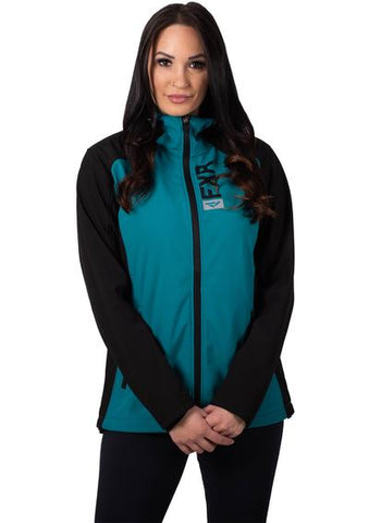 2020 FXR LADIES PULSE SOFTSHELL JACKET BLACK/TEAL FREE SHIPPING