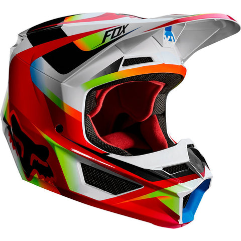 Fox YOUTH  V1 MOTIF RED/WHITE HELMET  Free shipping!!!