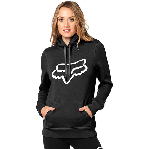 FOX WOMEN'S CENTERED PULLOVER HOODIE BLACK