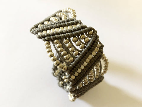 Woven Grey and Silver Bracelet