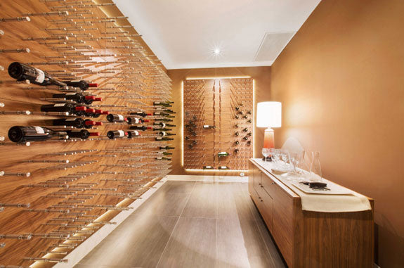 California Wine Room Uses Horizontal Bottle Holders Wine