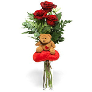 Rose Arrangement with Teddy Bear