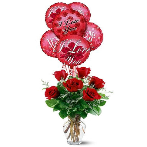 Rose Arrangement with Balloons