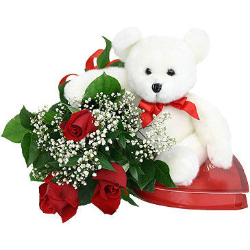 Rose Bouquet with Teddy Bear and Chocolates