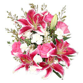 Lily, Rose & Carnation Bouquet